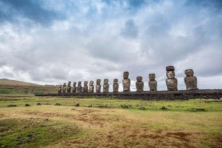 The fifteen famous moai of ahu tongariki Stock Photo