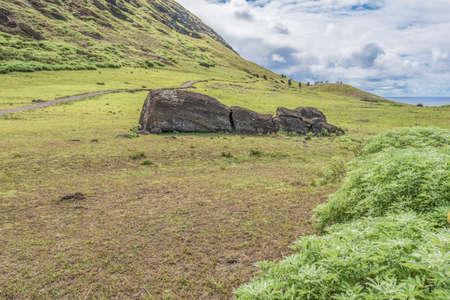 Rano Raraku volcano and the fallen moai