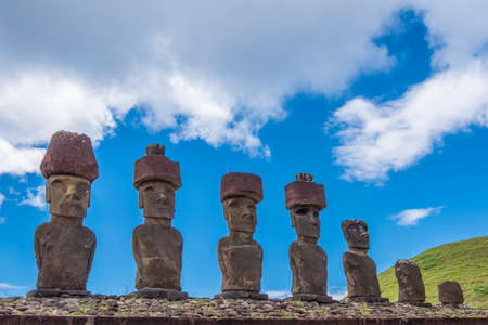 The 7 moai of Ahu Nau Nau Stock Photo