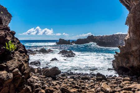 The ocean from the Ana Kai Tangata cave