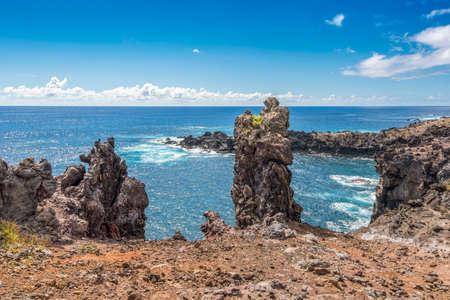High angle view of Ana Kai Tangata cave bay