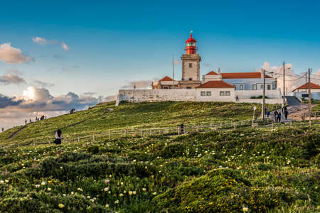 18th century lighthouse in Cabo da Roca 스톡 콘텐츠