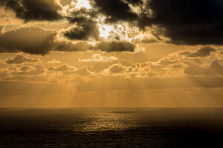 Golden sunset on the Atlantic ocean from Cabo da Roca