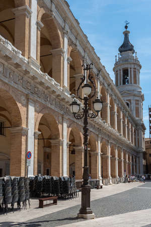 An old street lamp in the Piazza della Madonna in the town of Loreto