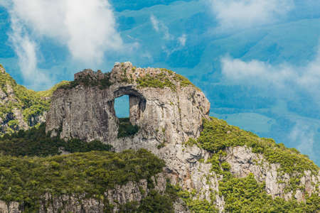 Hill of the Church, stone pierced natural monument, Serra Geral, Santa Catarina Brazil, the highest inhabited place in southern Brazil with 1822 meters of altitude