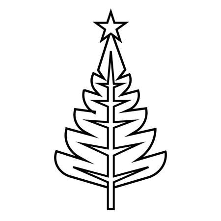 Christmas tree, vector illustration, Christmas and New Year, linear graphics, simple drawing  イラスト・ベクター素材