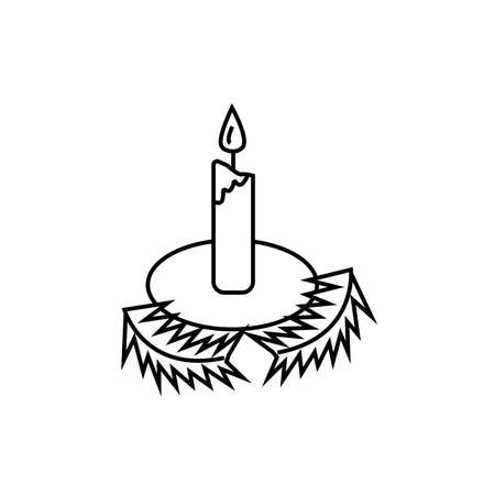 icon, christmas candle, vector illustration linear drawing