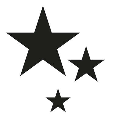 icono estrella negro y lineal, ilustración vectorial