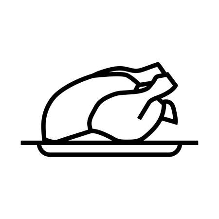 chicken on a tray christmas dish vector illustration simple illustration on white background