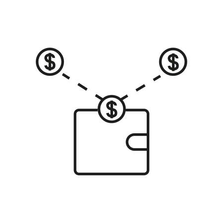 money transfer. wallet and money and coins. send money icon vector illustration