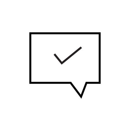 Message confirmation, accept message, chat bubbles message icon vector illustration on a white background, Editable Stroke.
