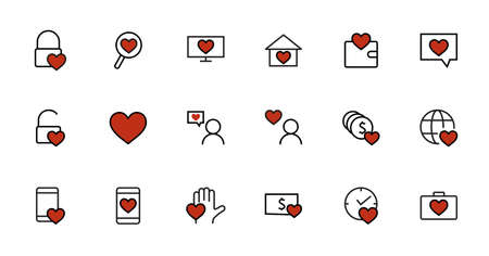 Friendship and love line icons. Interaction, mutual understanding and business promotion. Trust is love of home, and more, social responsibility icons. Linear set. Vector. Editable stroke. 480x480 pixels.