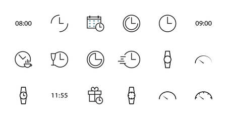 Simple Set of line vector house icons. Contains the symbols of a coffee house, a house as a present, time home, and much more. Editable stroke. 48x48 pixels perfect.