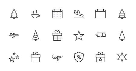 A simple set of New Year and Christmas related vector line icons. Contains icons such as a tree, star, gift, candy, snowflake and much more. Editable stroke. 48x48 Pixel Perfect. Фото со стока - 135019987