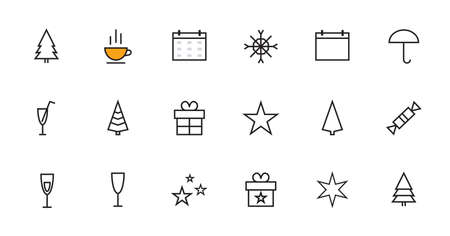 A simple set of New Year and Christmas related vector line icons. Contains icons such as a tree, star, gift, candy, snowflake and much more. Editable stroke. 48x48 Pixel Perfect.