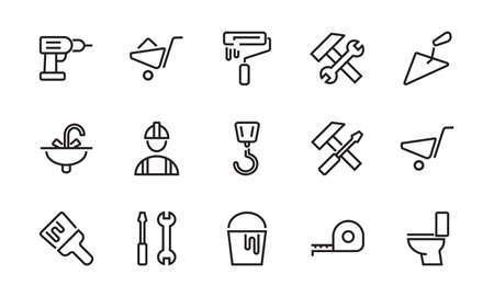 A set of construction icons, simple vector lines, contains the following icons: builder, roller, hammer with wrench, toilet bowl and much more. Editable stroke. 48x48 pixels perfect, white background.