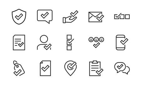 A simple set of claim related vector line icons. Contains icons such as security guarantee, received document, read message, verification, quality and much more. Editable Bar. 48x48 Pixel Perfect.