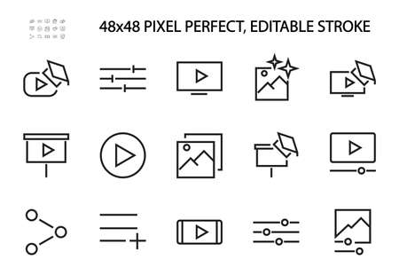Set of business training, online training related vector line icons. Contains icons such as video, play video, edit image, and more. Editable stroke. 48x48 pixels.