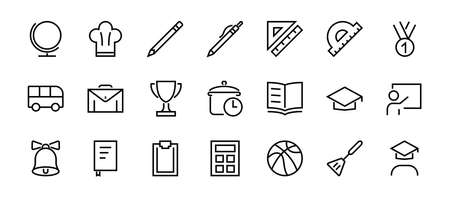 A simple set of school items. Contains icons such as student, award, geography, physical education, geometry and more. On white background. Editable stroke. 480x480 Vektoros illusztráció