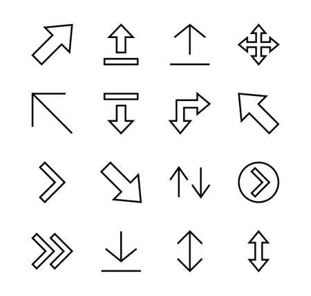 Set of line arrows, directions, arrows, contains icons such as pause, continuation, directly, to the right, Editable stroke. 480x480, On a white background, Vector illustration 일러스트