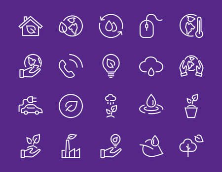 Set of icons on the theme of Ecology, vector lines, contains icons such as electric car, global warming, forest, eco, watering plants and much more. Editable stroke, White background Illustration