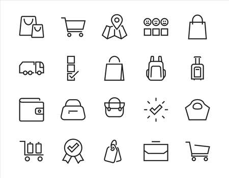 A simple set of bags, shopping and travel icons. Vector illustration Contains icons such as Card, wallet, shopping basket, discount, bowl, package. On a white background, editable stroke. 48x48 pixels
