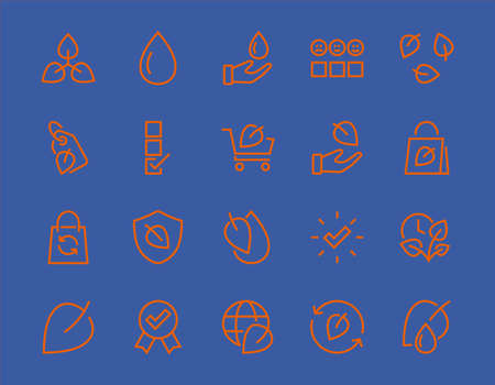 Ecology Icon Set, Vector lines, contains icons such as photosynthesis, Enviroment protection, Eco-friendly package, growth time, Editable stroke, perfect 48x48 pixels, White background. Illustration