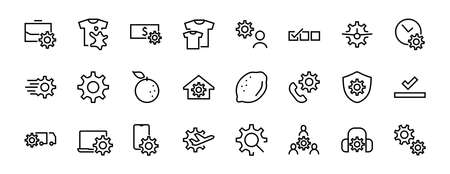 A simple set of settings and options related to Vector Line Icons. Contains icons such as set time, business, phone, and more. Editable Stroke.. 480x480.