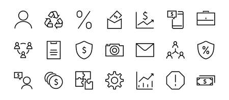 Set of business vector line icons. It contains user symbols, dollar pictograms, gears, briefcase, puzzles, envelope, percentage, messages, schedule, and more. Editable Bar 460x460 pixels