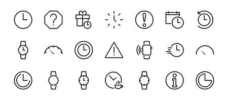Simple set of time icon color editable template. Contains icons such as time check, speedometer calendar and other vector signs isolated on a white background for graphic and web design. 48x48 pixels 向量圖像