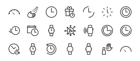 Simple set of time icon color editable template. Contains icons such as time check, speedometer calendar and other vector signs isolated on a white background for graphic and web design. 48x48 pixels.