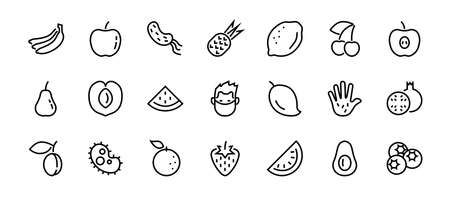 Fruit Icon Set, Vector lines, Contains icons such as apple, banana, cherry, lemon, watermelon, Avocado Editable stroke, 48x48 pixels, White background,