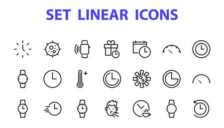 Simple set of time icon color editable template. Contains icons such as time check, speedometer calendar and other vector signs isolated on a white background for graphic and web design.