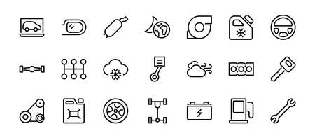 A simple set of car services related vector line icons. Contains icons such as oil, diagnostics, turbine, steering wheel, chassis, gearbox and much more. Editable move. 480x480 On a white background.