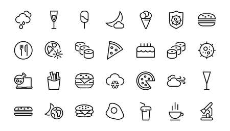 A simple set of fast food icons related to the vector line. Contains icons such as pizza, burger, sushi, bike, scrambled eggs and more. EDITABLE stroke. 480x480 pixels perfect, EPS 10. 版權商用圖片 - 142991951