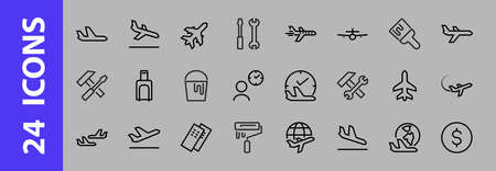 A simple set of airport related vector line icons. Contains badges such as departure, boarding, waiting time, boarding, find a place to travel tickets, and much more. Editable stroke.