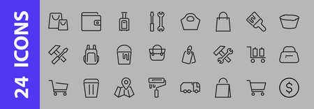 simple set of bags, shopping and travel icons. Vector illustration Contains icons such as Card, wallet, shopping basket, discount, bowl, package. Ilustracja
