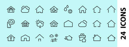 Simple set of color editable house icon templates. Contains such icons, home calendar, coffee shop and other vector signs isolated on a white background for graphic and web design.