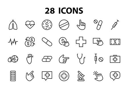 Simple Set of Medicine, Pills Related Vector Line Icons. Contains icons such as Pain, Syringe, tablet and more. Editable stroke. 480x480 pixels perfect, on a white background.