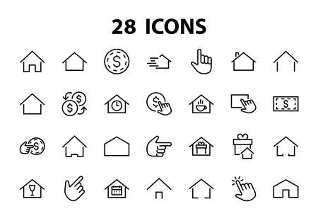Simple set of color editable house icon templates. Contains such icons, home calendar, coffee shop and other vector signs isolated on a white background for graphic and web design. Vettoriali