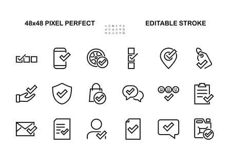 A simple set of claim related vector line icons. Contains icons such as security guarantee, received document, read message, verification, quality and much more. Editable Bar. 480x480.