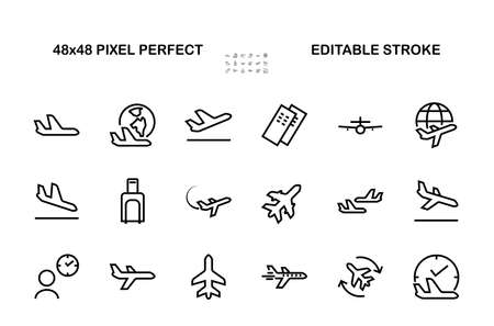 A simple set of airport related vector line icons. Contains badges such as departure, boarding, waiting time, boarding, find a place to travel tickets, and much more. Editable stroke. 48x48 pixels.