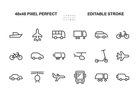 Set of public transport related vector line icons. Contains icons such as bus, bike, suitcase, car, scooter, truck, transport, trolley bus, sailboat, motor boat, plane and much more. Editable stroke