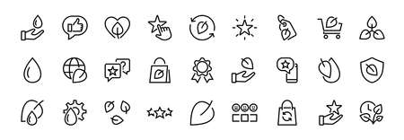 Ecology Icon Set, Vector lines, contains icons such as photosynthesis, Enviroment protection, Eco-friendly package, growth time, Editable stroke, perfect 48x48 pixels, White background.