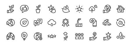 The set of ECOLOGY icons, vector lines, contains such icons as an electric car, global warming, forest, eco, watering plants, a plant and much more. Editable stroke, white background.