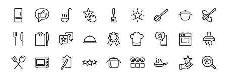 Set of cooking and kitchen icons, Vector lines, contains icons such as frying pan, frying, microwave, fork with spoon, Editable stroke, perfect 480x480 pixels, white background