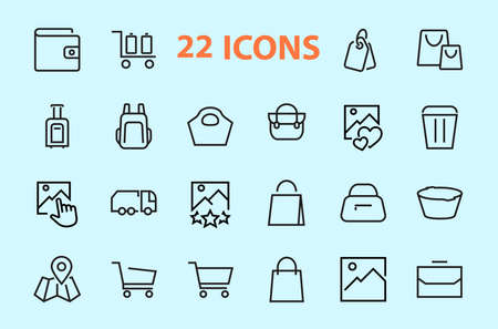 A simple set of bags, shopping and travel icons. Vector illustration Contains icons such as Card, wallet, shopping basket, discount, bowl, package. On a white background, editable stroke.