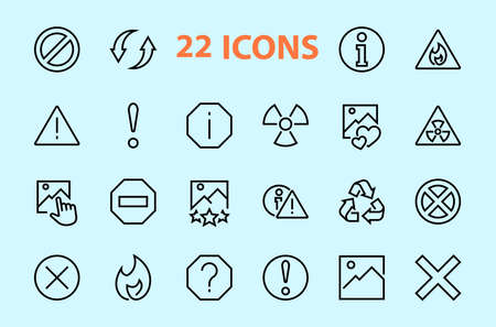 A simple set of WARNINGS, thin vector lines. Contains ICONS such as a warning, exclamation mark, reuse, warning sign, and more. Editable stroke. 48x48 Pixel Perfect. Vector illustration. 일러스트