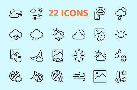 WEATHER set of icons, icons such as weather forecast and clouds, wind, rain, snow, weather settings and sunny weather and much more. Editable stroke, simple vector lines.