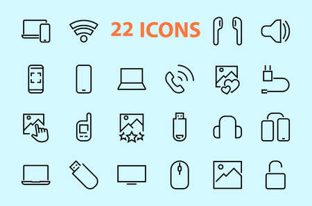 A set of smart devices and gadgets, computer hardware and electronics. Electronic devices icons for web and mobile vector lines. computer, telephone. Editable stroke. 48x48 pixels.